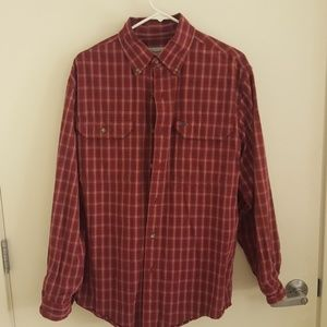 Carhartt red and blue plaid flannel button up